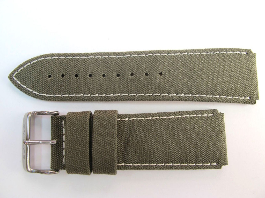 24MM HIGH GRADE GERMAN GREEN CAMP STYLE CANVAS STRAP & STEEL BUCKLE BY GLYCINE BRISBANE Harrington Vintage Watch Strap Woolloongabba