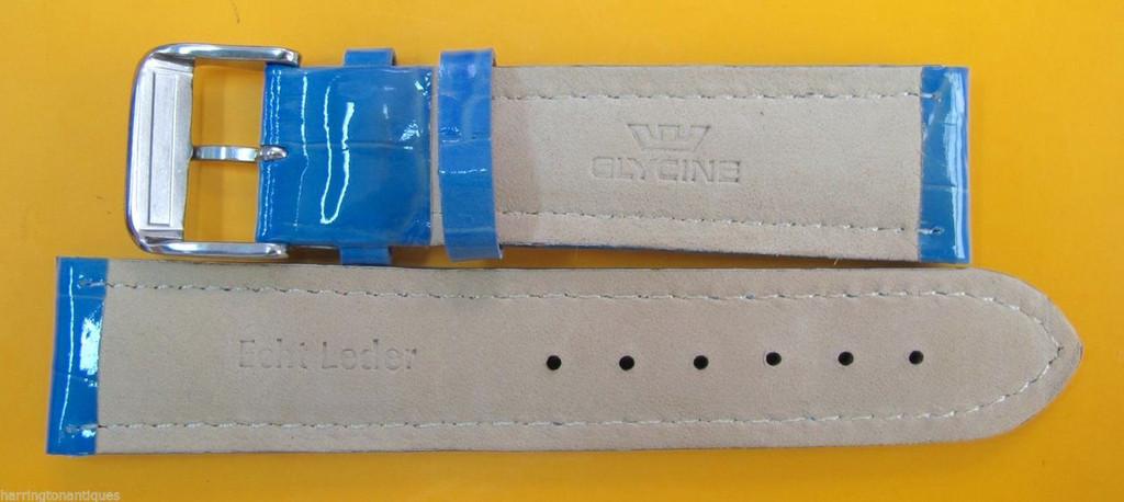 22MM HIGH GRADE CELESTIAL BLUE GLOSS LEATHER STRAP & STEEL BUCKLE BY GLYCINE #M
