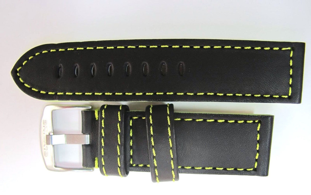 22MM HIGHGRADE BLACK LEATHER STRAP FLURO GREEN STITCHING & STEEL GLYCINE BUCKLE #C