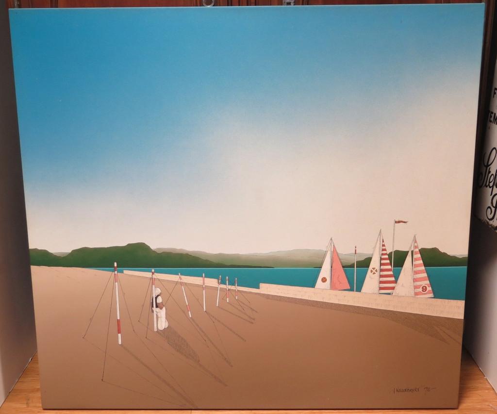 LARGE AUSTRALIAN ARTIST BUY SELL JAMES WILLEBRANT ACRYLIC ON CANVAS 118CM X 110CM DOCKED INTEREST C.1978
