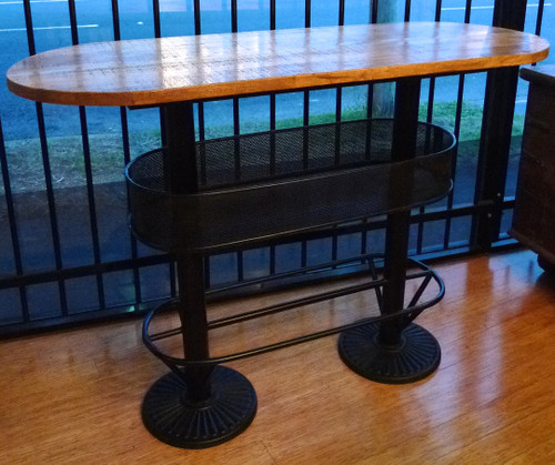 INDUSTRIAL VINTAGE BRISBANE STYLE CAST IRON & TIMBER CAFE BAR PERFECT FOR A HOT OR COLD DRINK