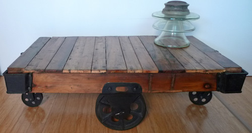 FANTASTIC VINTAGE BRISBANE INDUSTRIAL STYLE CAST IRON & TIMBER CART  PERFECT FOR A COFFEE TABLE