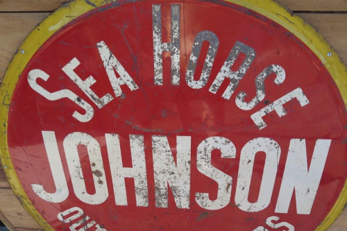 SUPER RARE c1930's / 40s JOHNSON SEA HORSE OUTBOARD MOTOR LARGE ADVERTISING SIGN