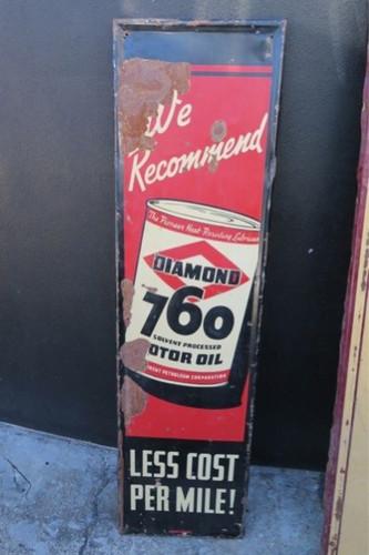 RARE / TALL 1937 AMERICAN DIAMOND 760 MOTOR OIL GAS STATION / GARAGE SIGN.