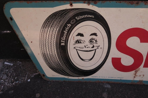 "1960 B F GOODRICH SILVERTOWN USA ""SMILEAGE"" METAL SIGN."