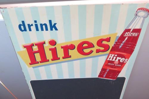 VINTAGE AMERICAN HIRES SOFT DRINK STORE SIGN.