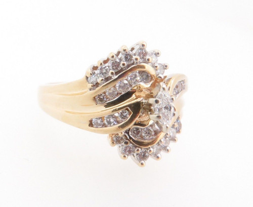 14k Gold 0.51ct Diamond cluster Ladies dress ring, valuation $3885