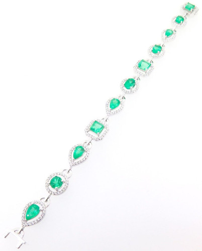 Stunning 8.9ct Emerald & 2.4ct Diamond Set Ladies 14K Gold Bracelet Val $24180