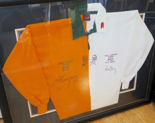 Vintage Rugby Union David Campese & Will Carling  signed large display