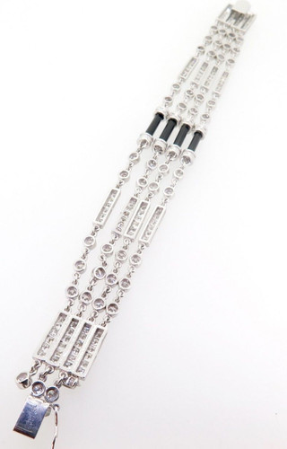 Incredible 18k White Gold 10.08ct Diamond & Onyx Multi Strand Bracelet Val$26945