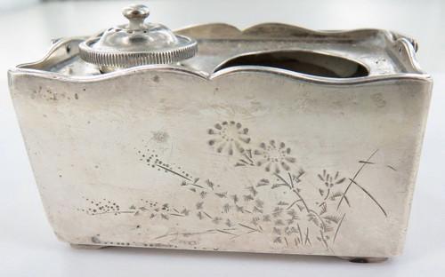 Antique oriental exportware sterling silver cruet set, signed to base