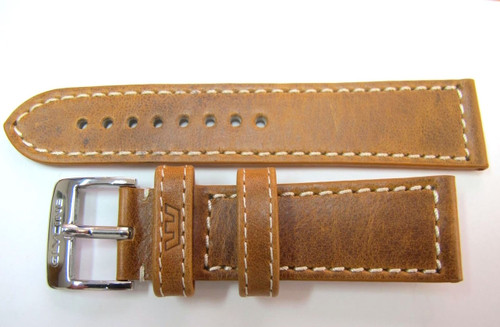 24MM GERMAN MADE TAN LEATHER STITCHED STRAP & STEEL BUCKLE BY GLYCINE #M