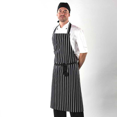 Butcher Stripe Bib Apron without Pocket 100% Cotton