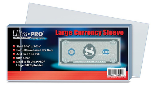 Ultra Pro Large Currency Sleeve - (100 per pack)