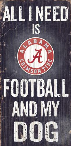 "Alabama Crimson Tide Wood Sign - Football and Dog 6""x12"""