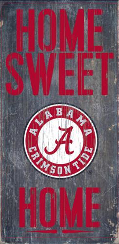 "Alabama Crimson Tide Wood Sign - Home Sweet Home 6""x12"""