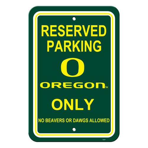 Oregon Ducks Sign - Plastic - Reserved Parking - 12 in x 18 in
