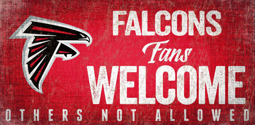 Atlanta Falcons Wood Sign Fans Welcome 12x6