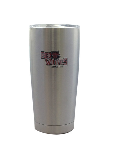 Arkansas State Red Wolves Travel Tumbler 20 oz Ultra Flared Silver