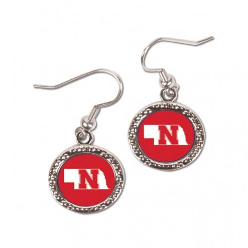 Nebraska Cornhuskers Earrings Round Style