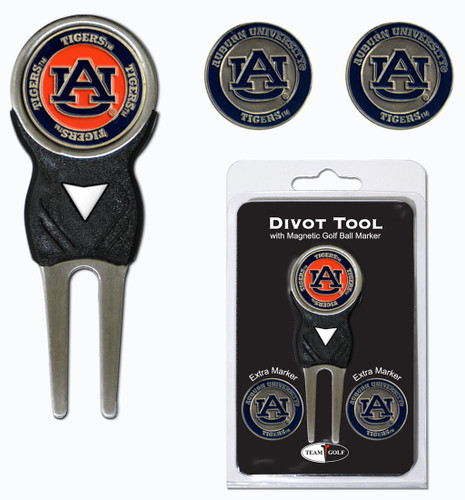 Auburn Tigers Golf Divot Tool with 3 Markers