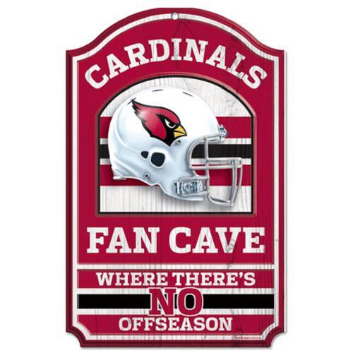 "Arizona Cardinals Wood Sign - 11""x17"" Fan Cave Design"