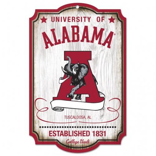 "Alabama Crimson Tide Wood Sign - College Vault - 11"" x 17"""