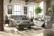 Mitchiner Fog REC Sofa with Drop Down Table, DBL REC Loveseat with Console, Stanah Lift Top Cocktail Table, End Table & Chair Side End Table