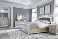 Coralayne Silver 5 Pc. Dresser, Mirror & Queen Upholstered Panel Bed