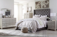 Coralayne Silver 5 Pc. Dresser, Mirror, Chest & Queen Upholstered Bed