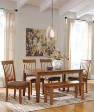 Berringer 6 Pc. Rectangular Dining Room Table, 4 Upholstered Side Chairs & Large Bench