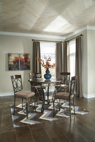 Glambrey 5 Pc. Round Dining Room Counter Table & 4 Bar Stools