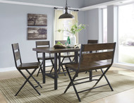 Kavara Medium Brown 6 Pc. Rectangular Dining Room Counter Table, 4 Barstools & Double Barstool