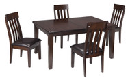 Haddigan Dark Brown 5 Pc. Rectangular Dining Room Extension Table & 4 Upholstered Side Chairs