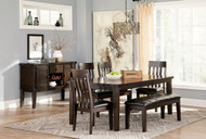 Haddigan Dark Brown 7 Pc. Rectangular Dining Room Extension Table, 4 Upholstered Side Chairs, Upholstered Bench & Server