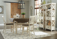 Bolanburg Two-tone 7 Pc. Round Drop Leaf Counter Table, 4 UPH Barstools & 2 Display Cabinets