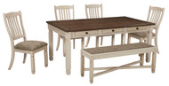 Bolanburg Antique White 6 Pc. Rectangular Dining Room Table, 4 Upholstered Side Chairs & Upholstered Dining Room Bench