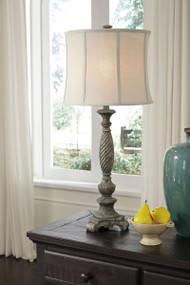 Alinae Antique Gray Poly Table Lamp