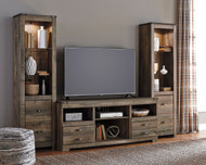 Trinell Entertainment Center Large TV Stand & 2 Tall Piers