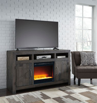 Mayflyn Charcoal LG TV Stand with Glass/Stone Fireplace Insert