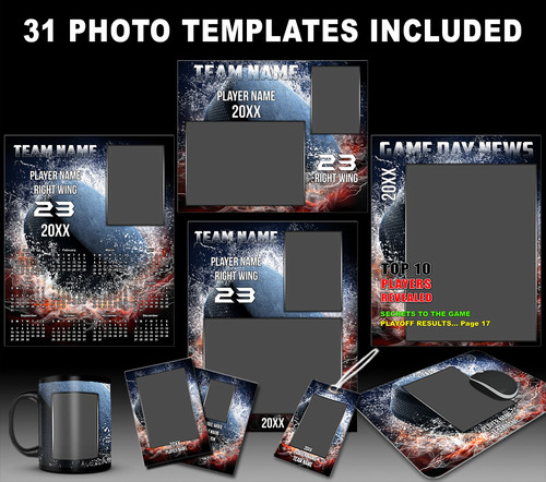 Hockey sports photo templates splash collection for Sports team photography templates