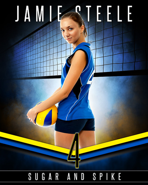 Sports poster photo template fantasy volleyball for Sports team photography templates