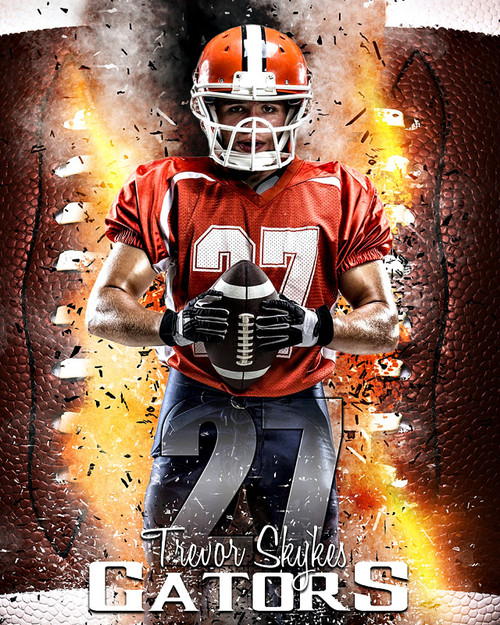 Sports poster photo template for football football inferno for Sports team photography templates