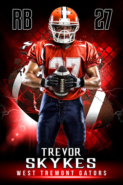 Player banner sports photo template shattered football for Sports team photography templates