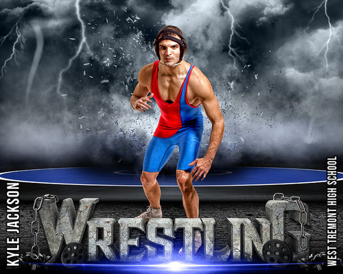 Sports Poster Photo Template Wrestling Destruction