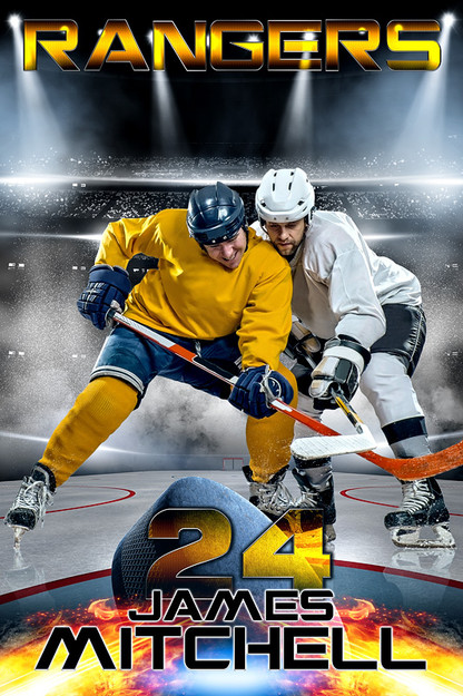 Player and team banner sports photo template fire and ice for Sports team photography templates