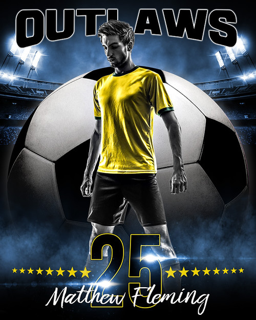 Sports Poster Photo Template - All Star Soccer - Photoshop Sports ...