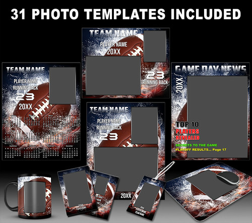 Splash football sports photo template collection for Sports team photography templates