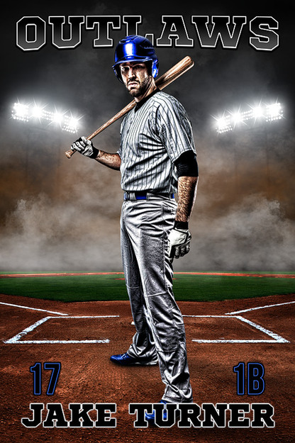 PLAYER BANNER PHOTO TEMPLATE - UP IN SMOKE - BASEBALL - LAYERED PHOTOSHOP SPORTS TEMPLATE