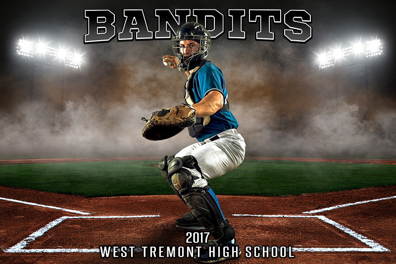 sports team photography templates - player team banner sports photo template up in smoke